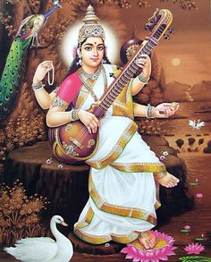 Goddess Saraswati Devi 977 - prayer beads in one hand, holy texts in another and two hands to play the sitar Saraswati Photo, Saraswati Mata, Durga Ji, Saraswati Goddess, Shiva Shakti, Goddess Lakshmi, Indiana, Lord Murugan Wallpapers, Lakshmi Images