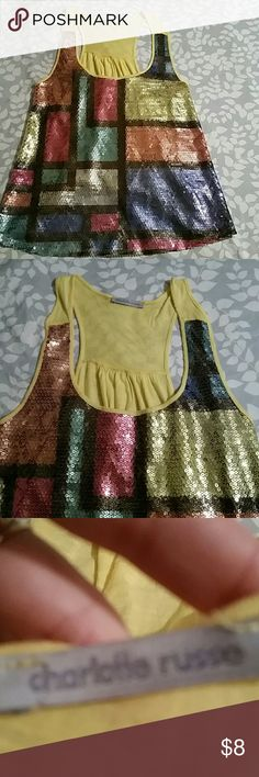 CHAROLETTE RUSSE sequin multicolor tank Great condition and tag size tag has been removed but is Size small Charlotte Russe Tops Tank Tops