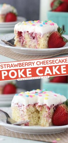 Grab a vanilla cake mix for an easy sweet treat! This dessert idea will remind you of tres leches. Combined with fresh strawberry sauce and cream cheese whipped cream, this Strawberry Cheesecake Poke Cake recipe lets you experience heaven in a bite! Strawberry Cheesecake Poke Cake Recipe, Easy Strawberry Desserts, Poke Cake Recipes, Cake Recipes From Scratch, Strawberry Sauce, Poke Cakes, Best Cake Recipes, Cheesecake Recipes, Cupcake Recipes