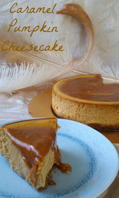 Sweet, simple, and elegant pumpkin cheesecake topped with a pool of salted caramel.