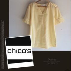Chico's Buttercup Yellow Top Soft buttercup yellow with military shoulders, short button sleeves, Henley style front. 100% cotton. Size 0 (Chico's size small)No trades. Generous discount with bundle. Chico's Tops