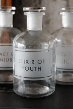 Etched Apothecary Bottle 250ml - Elixir of YouthLove these fun bottles, but they are way overpriced. I'm sure you could find a way to add professional looking labels.