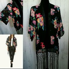 Floral Kimono with Tassels Gorgeous tailoring and seriously swishy fringe tassels. Satin trim. Semi sheer nylon blend. Bright colors are amazing! boutique Swim