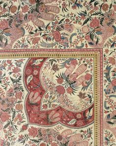 """Palempore""   Date: 1700-1735.  Place: Southern Coromandel Coast/India/India.  Classification: Textile  Measurements: W. 85 1/4 in. , L. 109 1/2 in. Medium: printed cotton. Cincinnati Art Museum."