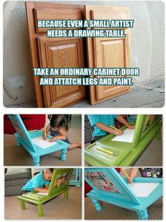 Art table from old cabinet doors Crafty Craft, Drawing Tables, Drawing Desk, Lap Table, Lap Desk, Homework Table, Door Table, Door Desk, Cupboard Doors