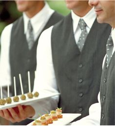 The classic #reception - both #formal and intimate. Have waiters dress in black and white offering trays laden with delectable hors d'oeuvres. Lovely!