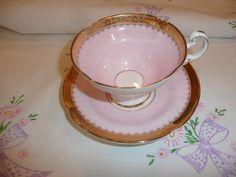 Pretty in Pink--- Tea Cup--- English fine bone china with gold trim