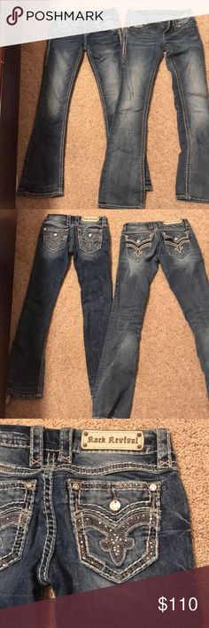 2 pair of Rock Revival jeans 2 pair of Rock Revival jeans both in good use and care nothing is wrong with any of my jeans I'm selling they are just too small for me. On rock is 25 and the other one is 26. I'll do $110 or both or best offer Rock Revival Jeans Boot Cut