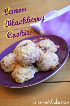 Lemon Blackberry Cookies  3/4 cup butter, softened  3/4 cup sugar  1 egg  1 tsp. vanilla  1 T. lemon zest (approx.)  1 T. lemon juice  1/2 tsp. salt  1/2 tsp. baking powder  2 cups flour  1 handful fresh blackberries (about 1/2 cup  bake 350 12-14 min