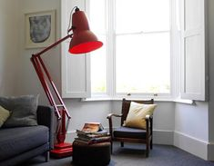 Giant task floor lamp by Anglepoise. Comes in red, orange, black, blue, grey, and cream. $3500 #lighting