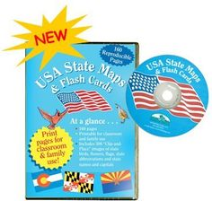 Usa State Maps Flash Cards Cd By Barker Creek 8 95 Includes An Activity Page For Each State Along With 300 Color Clip Art Featuring State Names And