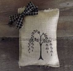 Primitives ~ Handcrafted Willow Tree Burlap Pillow