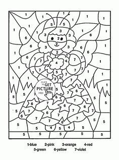 Color By Number Little Fairy Coloring Page For Kids Education Pages Printables Free