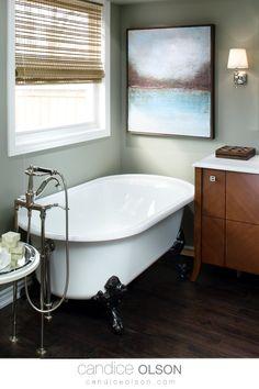 Claw Foot Soaker Bathtub • Wood Vanity • Cast Iron Bathtub • #candiceolson #candiceolsondesign Cast Iron Bathtub, Candice Olson, Classic Bathroom, Wood Vanity, Creative Design, Bathrooms, House, Ideas, Timber Vanity