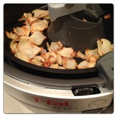 T-fal Actifry Potato Chips- Lightly spray machine with oil. Peel and slice 1-2 potatoes. Lightly coat with salt. Cook for 20 minutes. Healthy enough for mom, but tasty enough for kids.