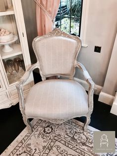 French louis chair in stripe beige fabric