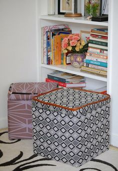 DIY Organization Ideas, boxes and basket-like bins from cardboard boxes.