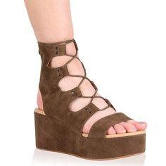 d2d09846b4e Sylvie Platform Sandals in Khaki Faux Suede Shoes Sandals