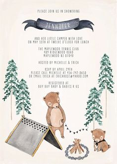 Baby Shower Or Baby Birthday Invitation - Camping Theme
