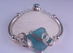 Tumultuous Tides Turquoise - Sea Glass Wire Wrapped Bracelet ©2013