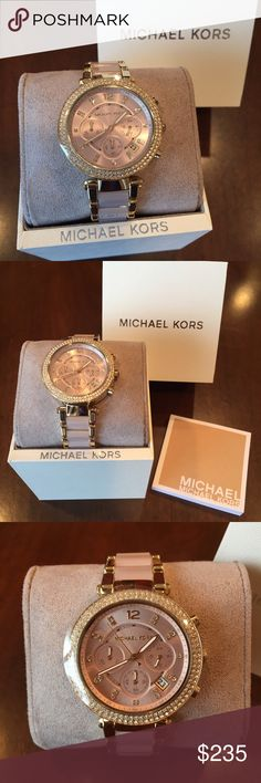 Michael Kors Gold & Pink Watch! Brand new Michael Kors gold & light pink watch! Gorgeous rhinestones surrounding the face of the watch & inside the face. Protective plastic & price tag still on! Original box & authenticity booklet included! (Just reduced!! Not interested in trading)  Michael Kors Accessories Watches