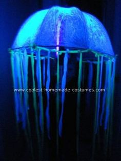 Homemade Glowing Jellyfish Costume: My 7 year old son loves ocean life and wants to be a marine biologist when he grows up.  He decided he wanted a Homemade Glowing Jellyfish Costume this