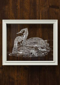Swimming ducks family papercut art decor 11x14