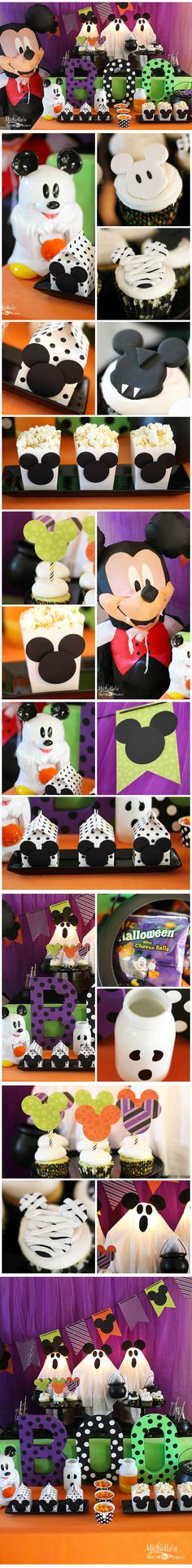 Love Mickey and Halloween? Why not celebrate Halloween Week with a Mickey Halloween Party! I really appreciate the ghosts wearing Mickey Mouse ears! Easy way to decorate? Cover with Halloween paper and add black Mickey icons and you have a Mickey-inspired decor! Mickey & Friends Halloween Party decorations & ideas.