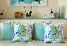 The Carmen Collection, Chinoiserie pillows, birds, pagodas Blue And White Pillows, Cottages And Bungalows, Blue And White China, Blue China, Pink And Green, Chinoiserie Chic, Eclectic Design, Beach House Decor, Sofa Pillows