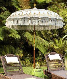 Adorn your patio with a spectacularly ornamented Balinese Umbrella. if i have a patio to adorn. Outdoor Rooms, Outdoor Gardens, Outdoor Living, Outdoor Decor, Balinese Decor, Patio Design, Garden Design, Bali Garden, Tropical Garden