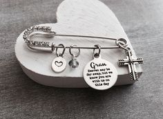 Heaven may be far away but we know you are with us on this day, Mom, Dad, Grandma, Grandpa, Silver Brooch, silver kilt pin, Wedding Jewelry by SAjolie, $27.95 USD