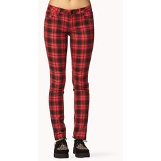 Forever 21 Grunge Plaid Skinny Pants (50 BRL) ❤ liked on Polyvore featuring pants, jeans, bottoms, red plaid, skinny jeans, red skinny pants, red pants, red tartan pants, tartan pants and red plaid skinny jeans
