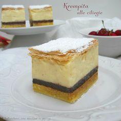 La Krempita è un dolce tipico dei paesi dell'est (torta di ciliegie semifreddo), deliziosa per il suo strepitoso gioco di consistenze