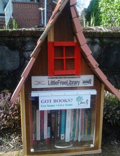 NE Ave~~~We hope our little library box will encourage more people,especially kids, to read and share books and just enjoy.A good book can give so much enjoyment. Mini Library, Little Library, Free Library, Library Books, Library Ideas, Lending Library, Community Library, Little Free Libraries, Library Design