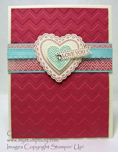 Stampin' Up! Hearts A Flutter stamps and Framelits with Amore DSP from 2013 Spring Catalog with Pool Party, Raspberry Ripple and Very Vanilla ink.  Chevron Embossing Folder and Love You Banner created with Itty Bitty Stamps and Framelits from Annual Catalog