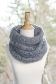 Crochet Cowl Scarf Super Kid Mohair and Silk by crochetgallery,