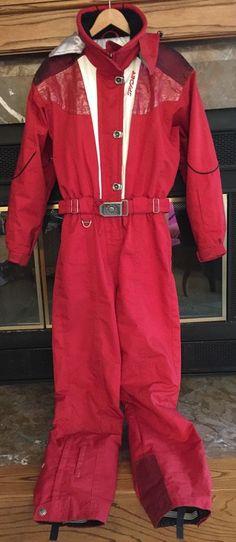 SPYDER Women s RED XLT 1 PIECE SKI SNOW SUIT PICABO Jacket Pants VINTAGE SZ  10 a281efcce