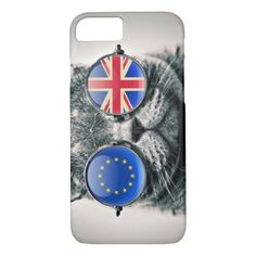 Funny hipster cat EU UK flag glasses photo iPhone 8/7 Case - cyo diy customize unique design gift idea