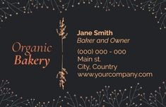 Framed Creative Centered Dark bakery business card to be a little bit different to everyone else Bakery Business Cards, Everyone Else, Personalized Items, Dark, Creative