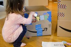 4 Tips for Extreme Box Decorating - Busy Toddler Outdoor Games For Preschoolers, Fun Activities For Toddlers, Preschool Games, Indoor Activities, Infant Activities, Craft Activities, Preschool Crafts, Pre School, Decorating