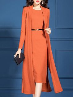 Stylewe Knit Set For Women Orange Paneled Outfits Prom Dresses Long With Sleeves, Half Sleeve Dresses, Elegant Midi Dresses, Floral Dresses, Peplum Dresses, Midi Cocktail Dress, Mode Hijab, Mode Vintage, Look Chic