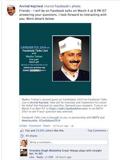 Arvind Kejriwal post about his appearance on Candidates 2014 on Facebook Talks Live