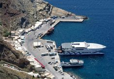 The Greek Transport Ministry has set aside million euros to be used to fund the upgrade of the Athinios port on the Cyclades island of Santorini. Transport Ministry, Santorini, Opera House, Transportation, Product Launch, Island, Building, Travel, Viajes