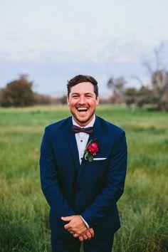 Navy Blue Suit Groom Bow Tie Whimsical Barn Wedding Australia http://throughthewoodsweran.co.uk/