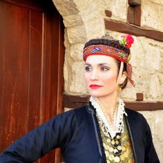 Dress - Pan-Hellenic federation of cultural associations of Macedonians - Edessa historical northern Greece Alexander The Great, Macedonia, Traditional Dresses, Headpiece, Greece, Captain Hat, Costumes, Greek Islands, Portrait