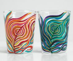 Yin and Yang Peacock Feather Glasses-Set of 2 Hand Painted Shot Glasses by Mary Elizabeth Arts