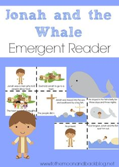 Here is a fun, FREEJonah and the Whale printable themed emergent reader. Just print out, allow your child to cut out the pages, and assemble a fun and eas