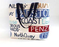 This item is unavailable Coastal Fabric, Nautical Theme Decor, Unique Bags, Gorgeous Fabrics, Beach Tote Bags, Market Bag, Cotton Bag, Animal Design, Woven Fabric