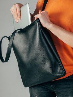 Women Laptop Bag Leather Shoulder Bag Laptop Tote by DrinaCrafts