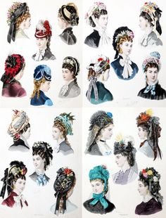 """1860 - Hairstyles illustration from """"La Mode Illustrée"""", Which of the women from The Quilted Heart quilting circle would've worn which hairstyle and bonnet? Civil War Hairstyles, Historical Hairstyles, Hat Hairstyles, Victorian Hairstyles, Vintage Hairstyles, Victorian Fashion, Vintage Fashion, Victorian Hats, Historical Clothing"""